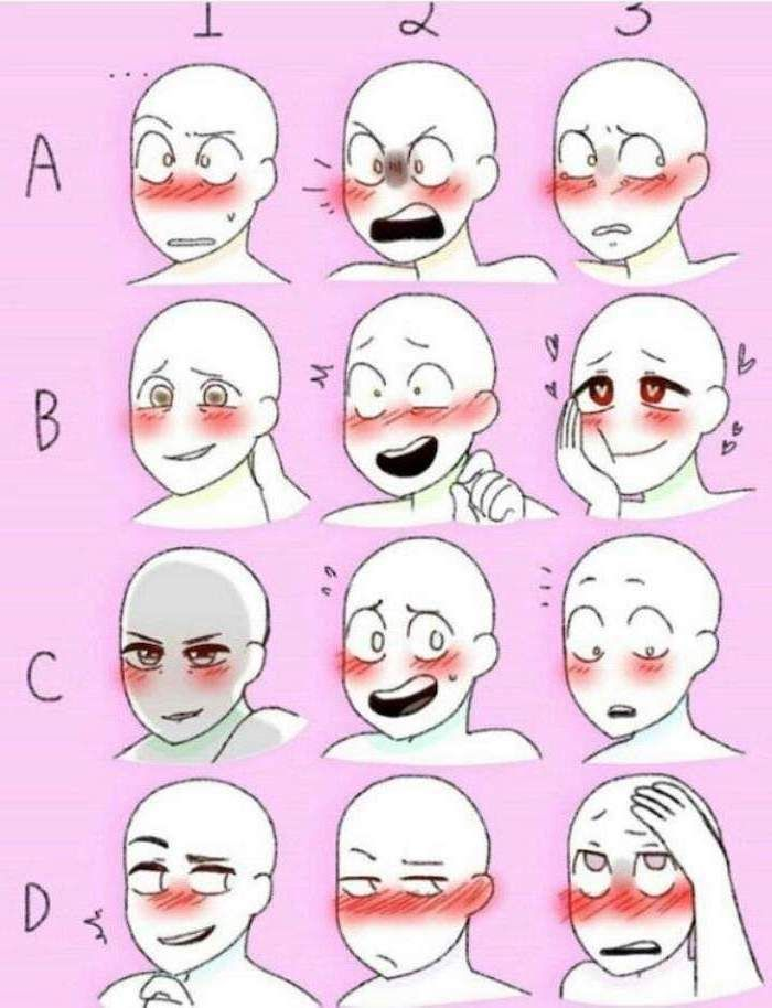 Les photos de dessins animés des expressions faciales