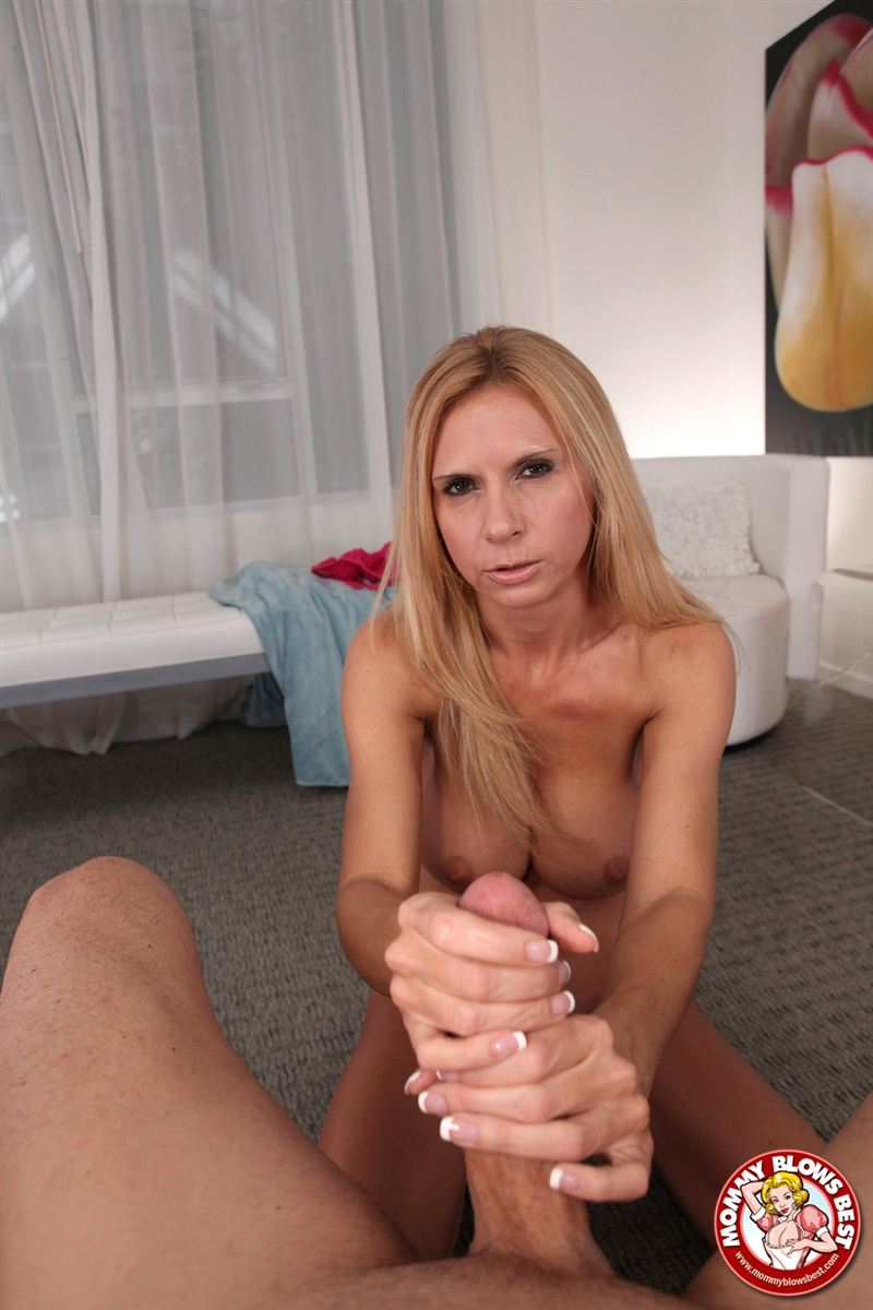 Hot blonde milf sucks cock