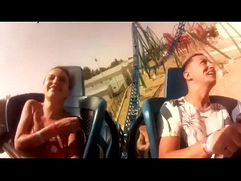 Tits pop out on rollercoaster